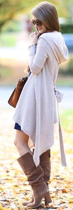 Gray Waterfall Hooded Cardi Fall Street Style Inspo by Southern Curls and pearls