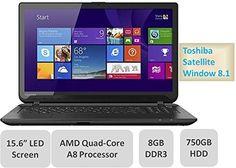 "cool Toshiba Satellite C55D Laptop - 15.6"" LED Backlit Screen, AMD Quad-Core A8 Processor 2.0GHz, 8GB Memory, 750GB Hard Drive, AMD Radeon R5 Graphics, DVDRW, Window 8.1 - For Sale"