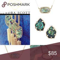My KENDRA ISO ABALONE: Tessa Studs, Rayne Necklace, Eloise Necklace, OPAL: Gunmetal Eloise, & gold blue Kyocera Eloise Kendra Scott Jewelry Necklaces