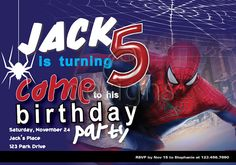 Spiderman Digital Party Invitation No 2 by Odesigns on Etsy, €9.00