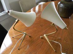 Midcentury Desk Lamps Pair Table Lamps Stilnovo Arteluce Sarfatti ca. 50s 60s Kalmar Possible French Italian door DanishModernPlus op Etsy https://www.etsy.com/nl/listing/174628127/midcentury-desk-lamps-pair-table-lamps