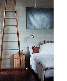 Bedroom wooden crate bedside table timber ladder vintage warehouse