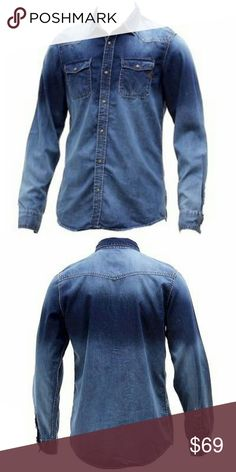 Buffalo Blue Denim Shirt L Buffalo Blu Men's Salmen Cotton Long Sleeve Button Down Denim Shirt  Features:  Snap-Button Up Front ClosurePoint CollarLong Sleeve With Button CuffsFront Snap-Button Closure PocketsDip-Dye EffectModel: BBM11171; SalmenMade Of: 100% CottonMade In: Bangladesh  Brand Information: Founded in Montreal more than 20 years ago, the Buffalo brand is a leader in the denim industry. Offering multiple denim styles & a full fashion collection, Buffalo's clothing & accessories…