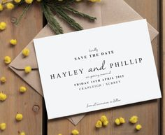 Traditional White Save the Date | Simple and classic save the date wedding cards | Customised and printed DEPOSIT