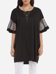 Loose Fitting Round Neck Cotton Mesh Patchwork Plain Short-sleeve-t-shirt