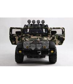 Jeep WRANGLER Style 12V RC camuflaje. Asiento piel y ruedas caucho