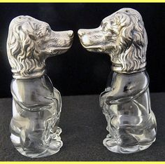 Dog Pair Salt & Pepper Shaker Cellar Set Silver & Glass