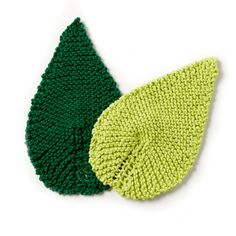 Free Knitting Pattern for a Be-Leaf It Mug Rug. Knit your own leaf shaped coaster.