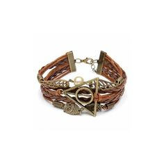 Multilayer Braided Leather Triangle Owl Wings Bracelet EUR297 Liked On