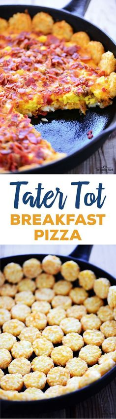 Tater Tot Breakfast Pizza recipe with crispy potatoes, scrambled eggs, melted…