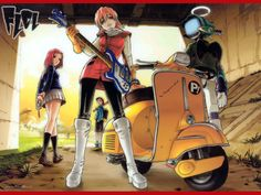 FLCL (フリクリ, pronounced in English as Fooly Cooly) mixes reality with space, time and psychological perspectives