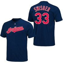 Cleveland Indians Nick Swisher Name & Number T-Shirt by Majestic Athletic
