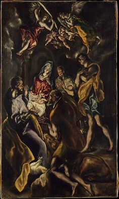 The Adoration of the Shepherds El Greco (Domenikos Theotokopoulos) (Greek, Iráklion (Candia) 1540/41–1614 Toledo) Date: ca. 1612–14 Medium: Oil on canvas Dimensions: 43 1/2 x 25 5/8 in. (110.5 x 65.1 cm) Classification: Paintings Credit Line: Bequest of George Blumenthal, 1941