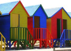 Colorful Beach Shacks Cape Town South Africa 5 x by JubileeImagery, $15.00