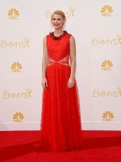 """Homeland"" star Claire Danes chose red Givenchy for this year's Emmy's."