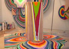 Pour by Holton Rower who paints by pouring paint onto three dimensional objects. #Painting #Holto_Rower