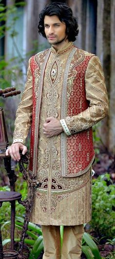 14459 Beige and Brown color family Sherwani in Brocade fabric with Stone, Patch, Zari work. Indian Men Fashion, Ethnic Fashion, Groom Fashion, Indian Groom Wear, Indian Wear, Indian Wedding Outfits, Indian Outfits, Sherwani Groom, South Indian Weddings