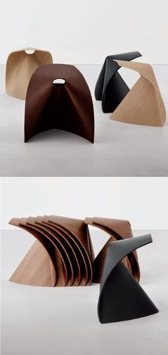 Low stackable multi-layer #wood #stool AP AP Collection by Lapalma | #design Shin Azumi