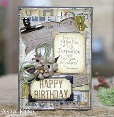Grunge Birthday Card for Scrapbook Adhesives by 3L And Autumnal Musings ~ Under a creative spell