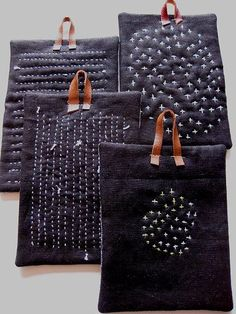 Potholders: Running stitches. The knots are intentionally shown on the front side...