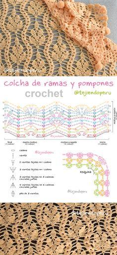 Crochet Tejiendo Perú: colcha con ramas y pompones paso a paso con video tutorial y diagrama!