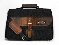 Torba na laptopa, dokumenty - filc i skóra. Antracyt (proj. Javore), do kupienia w DecoBazaar.com