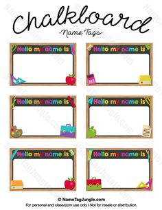 Free printable chalkboard name tags. The template can also be used for creating items like labels and place cards. Download the PDF at http://nametagjungle.com/name-tag/chalkboard/