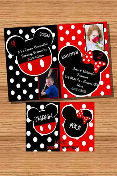 Mickey and Minnie Mouse birthday invitation with thank you card - DIY you print customized card by 2fungraphics. $15.00, via Etsy.