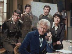Jon Pertwee The 3d Doctor, John Levene, Richard Franklin, Nicholas Courtney, and Elizabeth Sladen in Invasion Of The Dinosaurs.
