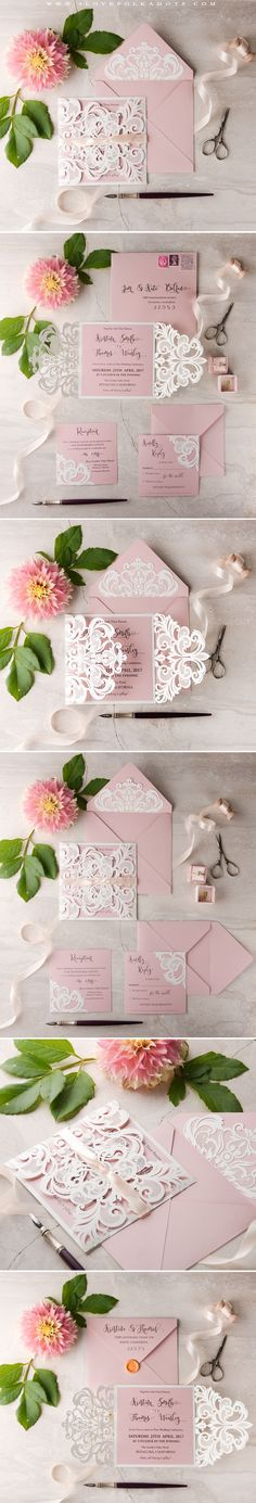 Blush Pink & White Wedding Invitation with laser cut lace #romanticwedding #lace #weddingideas