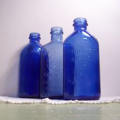 Vintage Cobalt Blue Glass Bottle Phillips Milk by BarnFlyVintage Antique Glass Bottles, Blue Glass Bottles, Cobalt Glass, Blue Bottle, Vintage Bottles, Bottles And Jars, Cobalt Blue, Vintage Perfume, Glass Jars