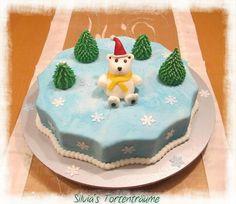 Silvia's Tortenträume: Winter-Torte Torte Schnee Schneeflocken Kette Perlen Perlenkette Marmorierung Fondant  Anleitung Tutorial Eisbär Tannenbaum