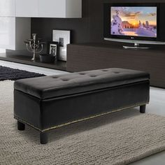 Baxton Studio Lucero Bonded Leather Storage Black Ottoman - Overstock™ Shopping - Great Deals on Baxton Studio Ottomans