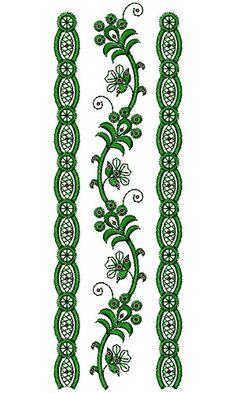 Lace Border Embroidery Design 16320 Indian Embroidery Designs, Machine Embroidery Designs, Embroidery Patterns, Hand Embroidery, Saree Border, Border Design, Stitch Design, Jewelry Patterns, Irish Crochet