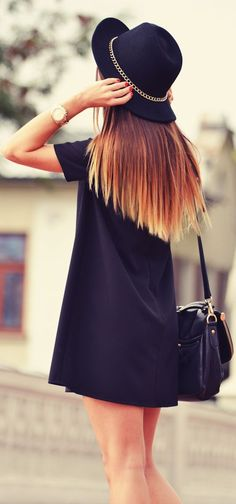 Black mini dress Style fashion clothing apparel women outfit hat hair beautiful summer girl handbag