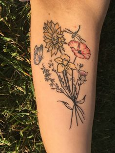 Wildflower tattoo . Flowers . Daffodil . Sunflower . Poppy. Heather . Thistle. Butterfly . Dragonfly .