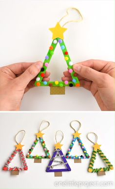 These popsicle stick Christmas trees are so much FUN! They're so easy to make and you can decorate them however you want! for kids Popsicle Stick Christmas Tree Ornaments Christmas Arts And Crafts, Preschool Christmas, Christmas Activities, Craft Stick Crafts, Holiday Crafts, Preschool Winter, Craft Ideas, Resin Crafts, Stick Christmas Tree