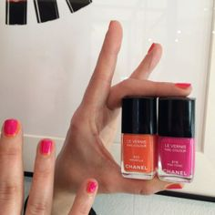 New Summer 2014 nail polish Chanel two-tone manicure – step by step. Chanel Mirabella 623, Chanel Pink Tonic 619
