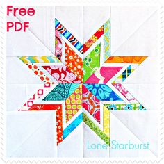 A gorgeous free quilt block pattern by Six White Horses Patterns called The Lone Starburst.  This free foundation paper-piecing template will create your new favorite bordered star.  The Lone Starb...