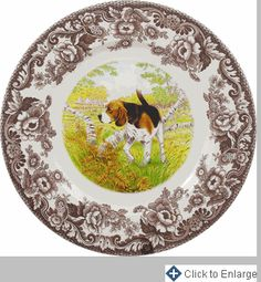 Woodland Hunting Dogs Dinner Plate 10.5 in. (Beagle)