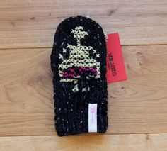 Hand Knit Wool Mittens Black Hand Knit Knit Gloves Women Accessories with Cross Stitch Design