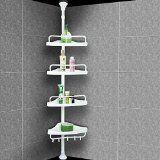 Etagère télescopique de douche - Hauteur max. 285cm - Avec crochets serviettes