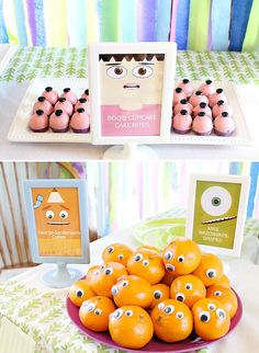 Monsters Inc. Themed Birthday Party // Hostess with the Mostess - - Monsters Inc. Themed Birthday Party full of screams, scares, a sully inspired cake, scarer of the month poster, roz's monster juice and Boo's cupcake bites! Monster University Birthday, Monster Birthday Parties, 2nd Birthday Parties, Boy Birthday, Birthday Ideas, Monster Party, Monster Themed Food, Monster Food, Monsters Inc Baby Shower