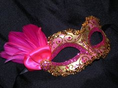 Masquerade Mask in Shades of Hot Pink and by TheCraftyChemist07, $40.00