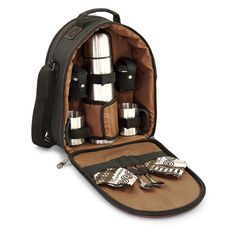 Whether you prefer coffee, tea or even hot cocoa, this java picnic tote is ideal. The tote is insulated to help keep things warm, and contains a 24oz vacuum flask to help ensure your favorite drink is piping hot. Pockets on the front and back are just right for little things, coffee or tea-time snacks, or even tea bags. The tote is black, durable polyester with accents in a rich chocolate brown. Whether you want to have coffee available on a trip or you want to enjoy a picnic break w…