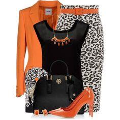 falda leopardo blanco Blusa negra Saco naranja Zapatillas naranja