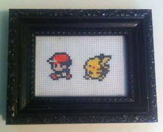 Pokemon - Ash and Pikachu Cross Stitch Little Red Stitches