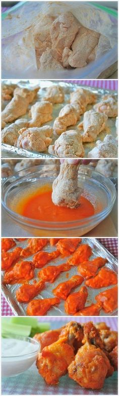 Baked Chicken Wings ~ These baked chicken wings are always a winner! They are super easy to make and super crunchy without being fried,, Baked Chicken Wings ~ These baked… Think Food, I Love Food, Good Food, Yummy Food, Healthy Food, New Recipes, Cooking Recipes, Favorite Recipes, Recipies