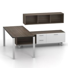 The Zo credenza and overhead team well with Miro desks in tight spaces.