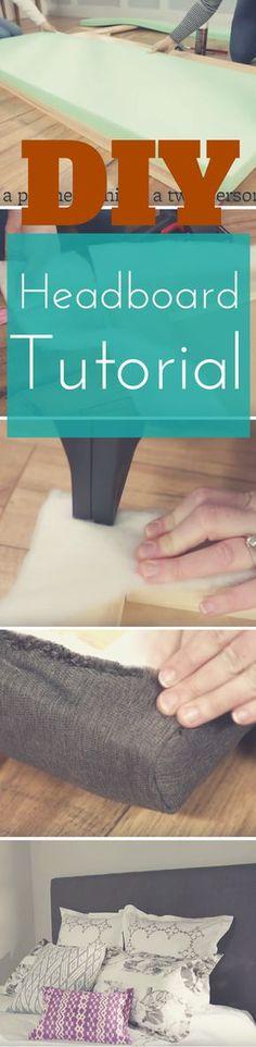 Simple DIY upholstered Headboard Tutorial via http://www.pillowpancake.com/diy-upholstered-headboard/